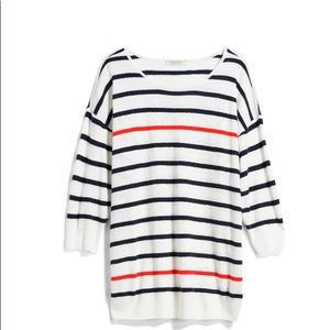 Boat neck cotton blend pullover